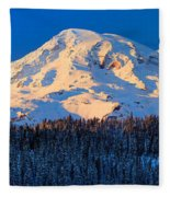 Mount Rainier Winter Evening Fleece Blanket