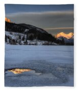 Mount Rundle And Vermillion Lakes Fleece Blanket