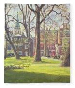Mount Street Gardens, London Oil On Canvas Fleece Blanket