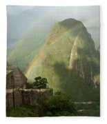 Mountain And Train Below Along Urubamba Fleece Blanket