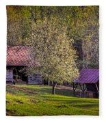 Mountain Barns In North Carolina Fleece Blanket