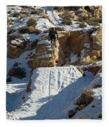 Mountain Biker Jumping With Snowy Fleece Blanket