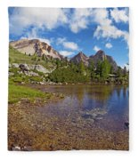Mountain Lake In The Dolomites Fleece Blanket