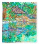 Mountain Lake Reflections Fleece Blanket