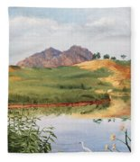Mountain Landscape With Egret Fleece Blanket