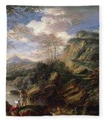 Mountain Landscape With Figures Fleece Blanket