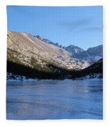 Mountain Reflection On Frozen Lake Fleece Blanket