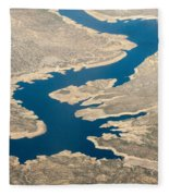 Mountain River From The Air Fleece Blanket