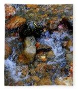 Mountain Stream In Autumn Fleece Blanket