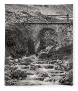 Mountain Stream With Bridge Fleece Blanket