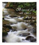 Mountain Stream With Scripture Fleece Blanket