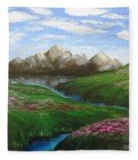 Mountains In Springtime Fleece Blanket