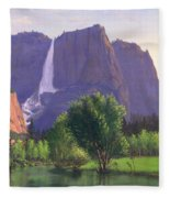 Mountains Waterfall Stream Western Mountain Landscape Oil Painting Fleece Blanket