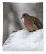 Mourning Dove In Snow Fleece Blanket