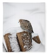 Mourning Dove In Snow Fleece Blanket