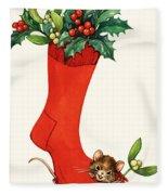 Mouse In A Christmas Sock Fleece Blanket