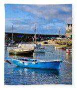 Mousehole Harbour Morning Fleece Blanket