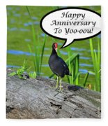 Mouthy Moorhen Anniversary Card Fleece Blanket