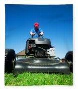 Mowing The Lawn Fleece Blanket