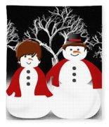 Mr And Mrs Snow 1 Fleece Blanket