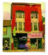 Mr Jordan Mediterranean Food Cafe Cabbagetown Restaurants Toronto Street Scene Paintings C Spandau Fleece Blanket