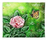 Ms. Monarch And Her Ladybug Friends Fleece Blanket