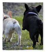 Ms. Quiggly And Buddy French Bulldogs Fleece Blanket