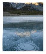Mt. Abraham And Ice On Abraham Lake Fleece Blanket