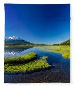 Mt. Bachelor Reflection And Forest Fleece Blanket