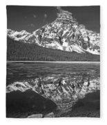 1m3641-bw-mt. Chephren Reflect  Fleece Blanket
