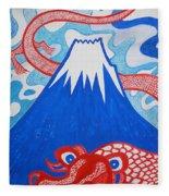 Mt. Fuji And A Red Dragon Fleece Blanket