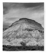 Mt. Garfield - Black And White Fleece Blanket