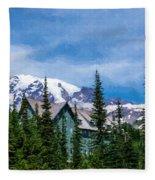 Mt Rainier And Paradise Inn Fleece Blanket