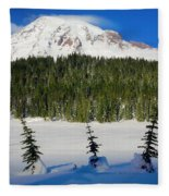 Mt Rainier And Three Trees Fleece Blanket
