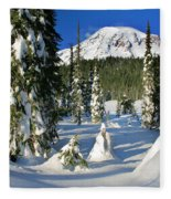 Mt Rainier At Reflection Lakes In Winter Fleece Blanket