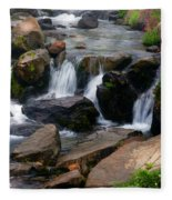 Mt Rainier Mountain Stream Fleece Blanket