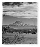 Mt. Rainier Over The Port Of Tacoma Fleece Blanket
