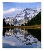Mt. Rainier On Aurora Lake Fleece Blanket