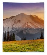 Mt. Rainier Sunset 2 Fleece Blanket