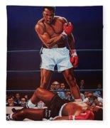 Muhammad Ali Versus Sonny Liston Fleece Blanket by Paul Meijering