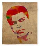 Muhammad Ali Watercolor Portrait On Worn Distressed Canvas Fleece Blanket