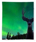 Mule Deer And Aurora Borealis Over Taiga Forest Fleece Blanket