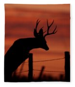 Mule Deer Buck Jumping Fence At Sunset Fleece Blanket