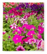 Multi-colored Blooming Petunias Background Fleece Blanket