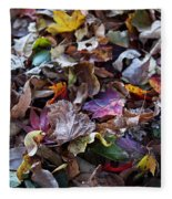 Multicolored Autumn Leaves Fleece Blanket