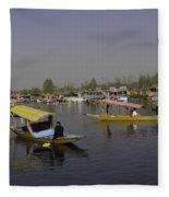 Multiple Number Of Shikaras On The Water Of The Dal Lake In Srinagar Fleece Blanket
