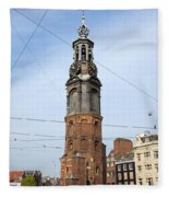 Munttoren In Amsterdam Fleece Blanket
