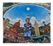 Mural Of Stephen F Austin Off Guadalupe Fleece Blanket
