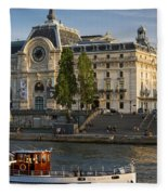 Musee D'orsay Along River Seine Fleece Blanket