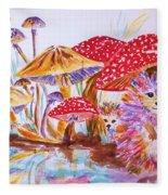 Mushrooms And Hedgehogs Fleece Blanket